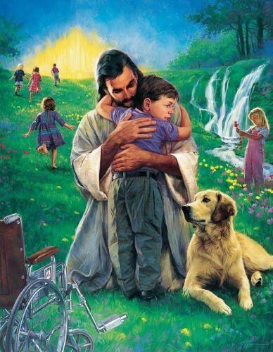 Nathan Greene JOHNNY MADE WHOLE - Jesus, Boy Wheelchair Home Decor HD Print Oil Painting On Canvas Wall Art Canvas Pictures 200108