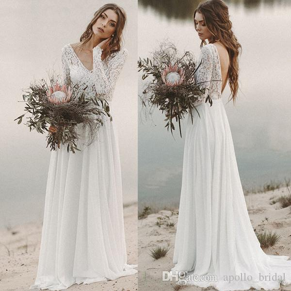 0fdba9f01 Discount 2019 Boho Beach Wedding Dresses A Line V Neck Long Sleeve Sweep  Train Bridal Gowns With Lace Chiffon Backless Wedding Gowns Cheap Online  Wedding ...