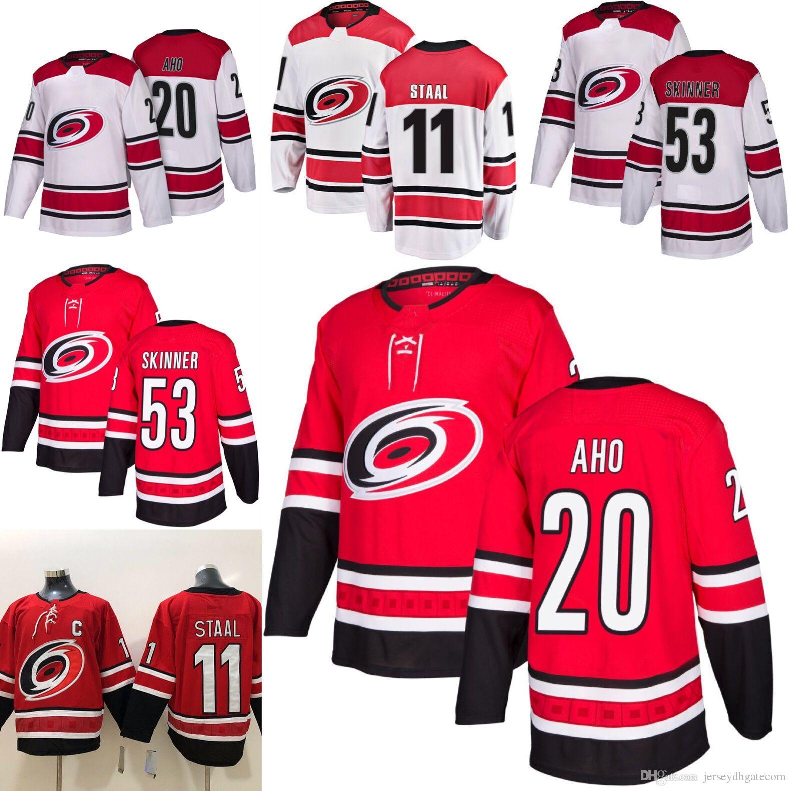e3bd18054 2019 2018 2019 Season Carolina Hurricanes 20 Sebastian Aho 53 Jeff Skinner  11 Staal Hockey Jerseys Men All Stitched Jerseys From Jerseydhgatecom