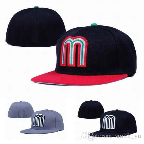 e5044c380d5 Fashion Letter M Cap Men Fitted Hats Mexico Flat Brim Embroiered Brand  Designer Sports Team Fans Baseball Caps Full Closed Chapeu Design Your Own  Hat Make ...