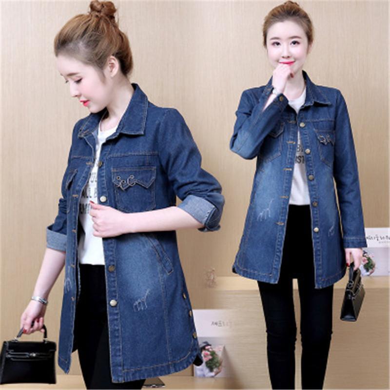 d4967938703 Spring 2019 Female Jacket 4XL Coat Female Spring Fall Denim Jacket Plus Size  Youth Clothing For Women Korean Style Jackets B4348 Winter Jackets Jean  Jacket ...