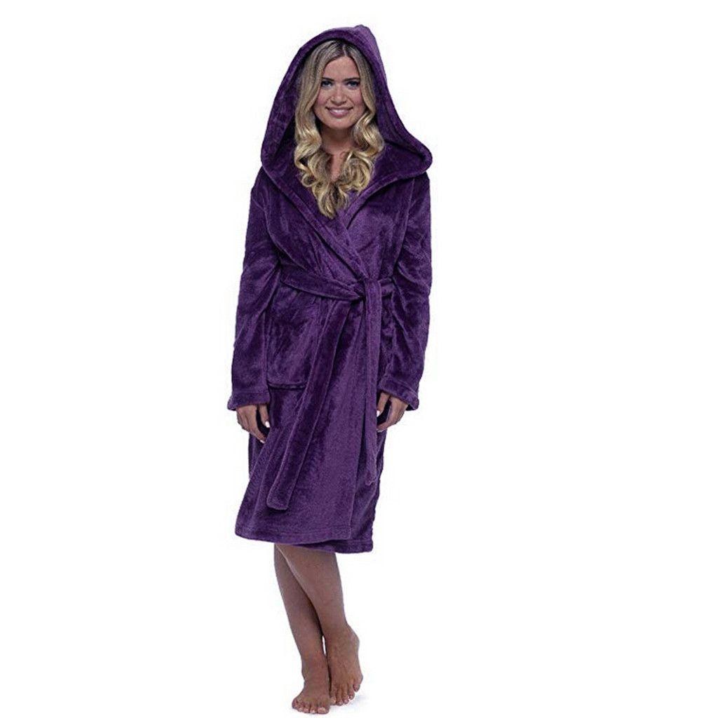 Inverno peluche accappatoio donne tinta unita spessa cappotto caldo casa vestiti a maniche lunghe accappatoio cappotto allungato scialle accappatoio donne / PT