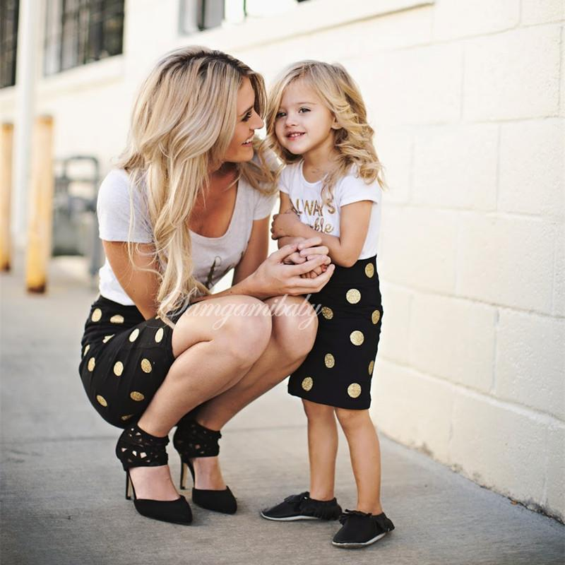 Mother And Daughter Clothes Outfits Mum Mom And Daughter Dress Two Pieces Set Family Look Girls Baby Kids Children Clothing Suit Y19051103