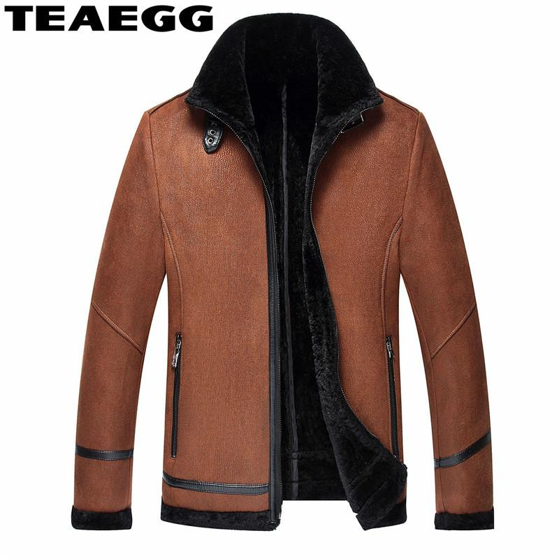 TEAEGG Winter Casual Fur Coat Faux Mens Leather Jackets And Coats Black Brown Warm Faux Leather Coat Parka Plus Size 4XL AL1553