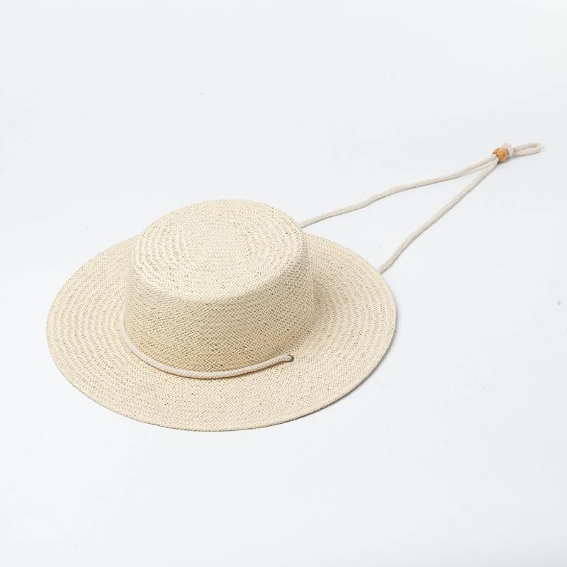 4a3a422d Muchique Women Boater Hat with Rope Ties Toyo Paper Summer Sun Hats New  Fashion Ladies Beach Vacation Hat UV Protection 691066