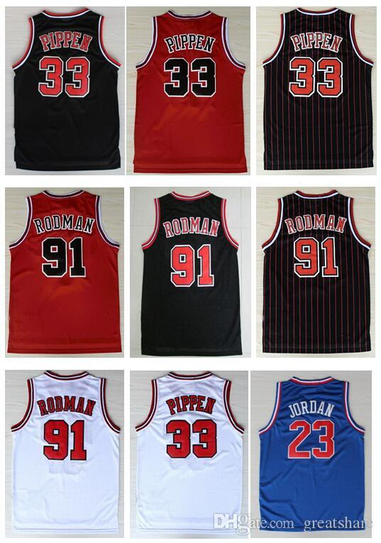 on sale 9e3d8 c0a66 Men Embroidery Best Quality Michael J jerseys 91# Dennis Rodman Jersey  black white red 33# Scottie Pippen New Mesh Material Shirts S-XXL