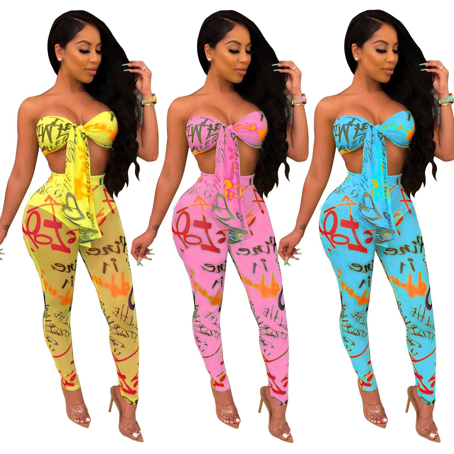 Letter Print Women Tracksuits Sexy Two Piece Set Front Tie Strapless Crop Top + Sheer Mesh Pencil Pants Club Outfits 3 Color