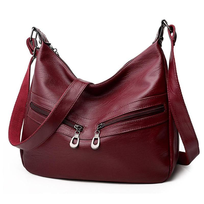 6af47de5e54b Women Hobos Messenger Bag Solid Zipper PU Leather Soft Handbag Mini Female  Clutch Pure Crossbody Shoulder Bag Bolsa Feminina Designer Bags Ladies  Handbags ...