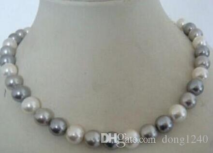 58ccbfe8ca8b Compre Envío Gratis Noble Joyería Impresionante 9 10mm Collar De Perlas De  Color Gris Blanco De Agua Dulce A  96.48 Del Dong1240