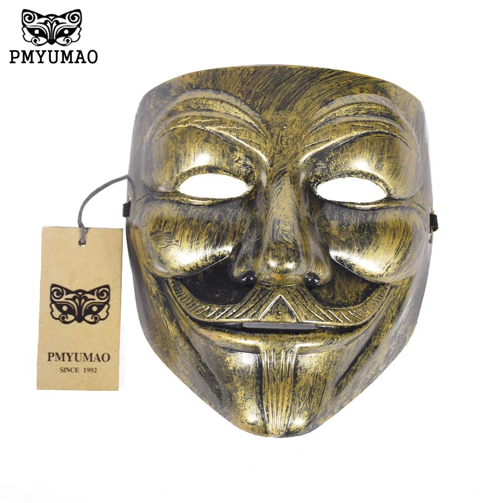 PMYUMAO 2017 New Gold Silver Color V for Vendetta Masks Halloween Horror Party Mask Guy Style Cosplay Props Mask