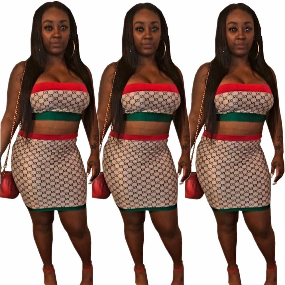614b1aa24ac3 2019 YT3113 High End Hot European And American Explosions Women'S Red And  Green Tube Top Two Piece Suit Skirt Suit Fashion Women From Wzk525, ...