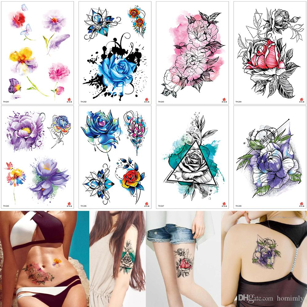 Watercolored Plum Blossom Flower Temporary Tattoos Painting for Female Girl Back Wrist Foot Arm Body Art Tattoo Sticker Dating Love Gift Hot
