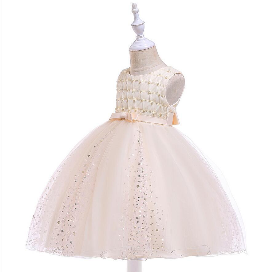 e2a27f55b17 Perles Sans Manches Bowknot Petites Filles Anniversaire Fête Robe ...