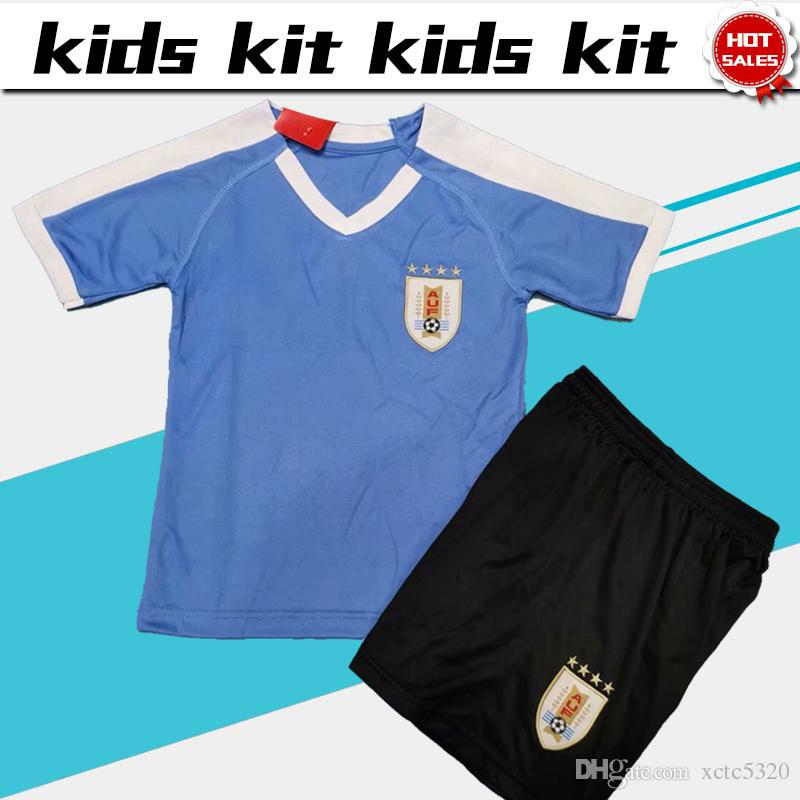 buy popular 10161 263c8 Kids Kit 2019 Uruguay soccer Jersey home 19/20 New season national football  team Child uniforms Customized shirt with shorts