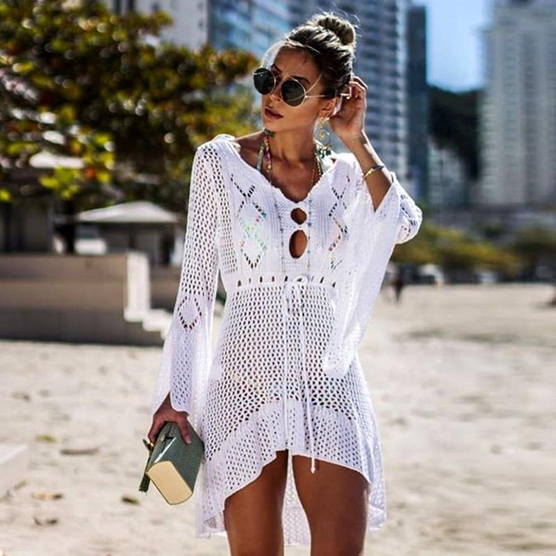 Nuevo Sexy Cover Up Bikini Mujeres Traje de baño Cover Up Traje de baño Ropa de playa Mujeres Traje de baño Mesh Summer Beach Dress Tunic Robe