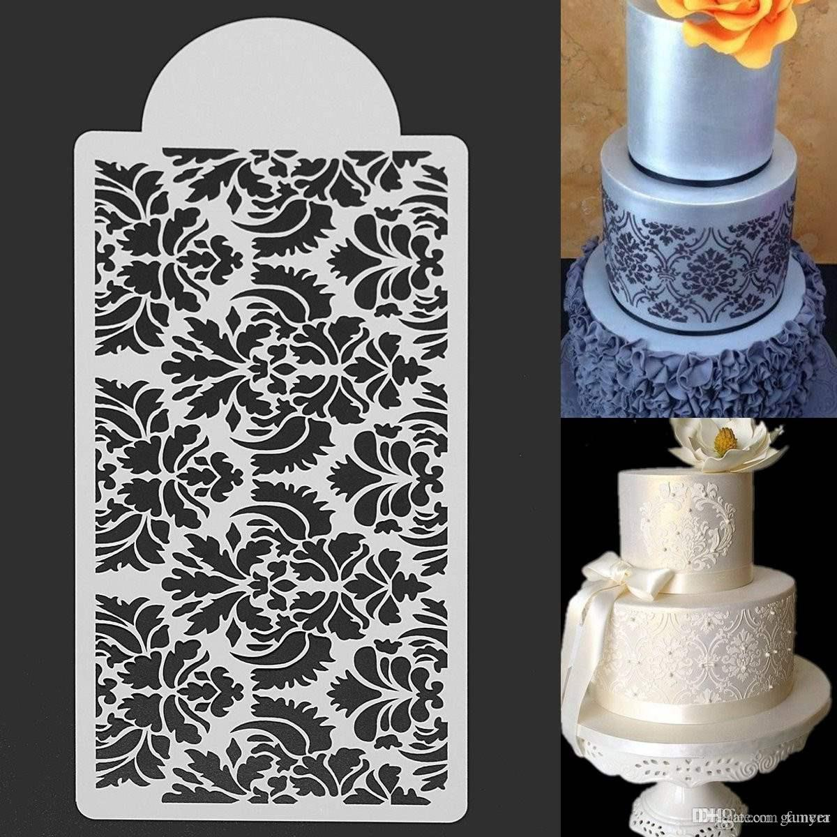 2019 Wholesale White Flower Cake Fondant Side Stencils Template