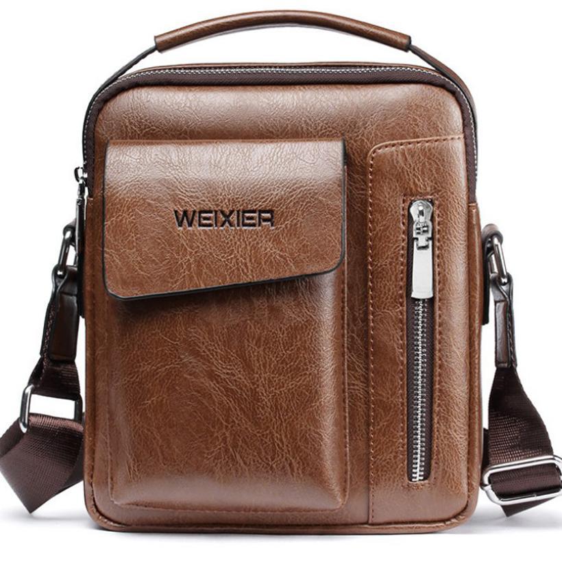 1916febfb79f2 Großhandel Handtasche Mann Umhängetasche Männer Pu Leder Schultertasche  Business Crossbody Casual Bag Berühmte Marke Kleine Schwarze Aktentasche  Von ...