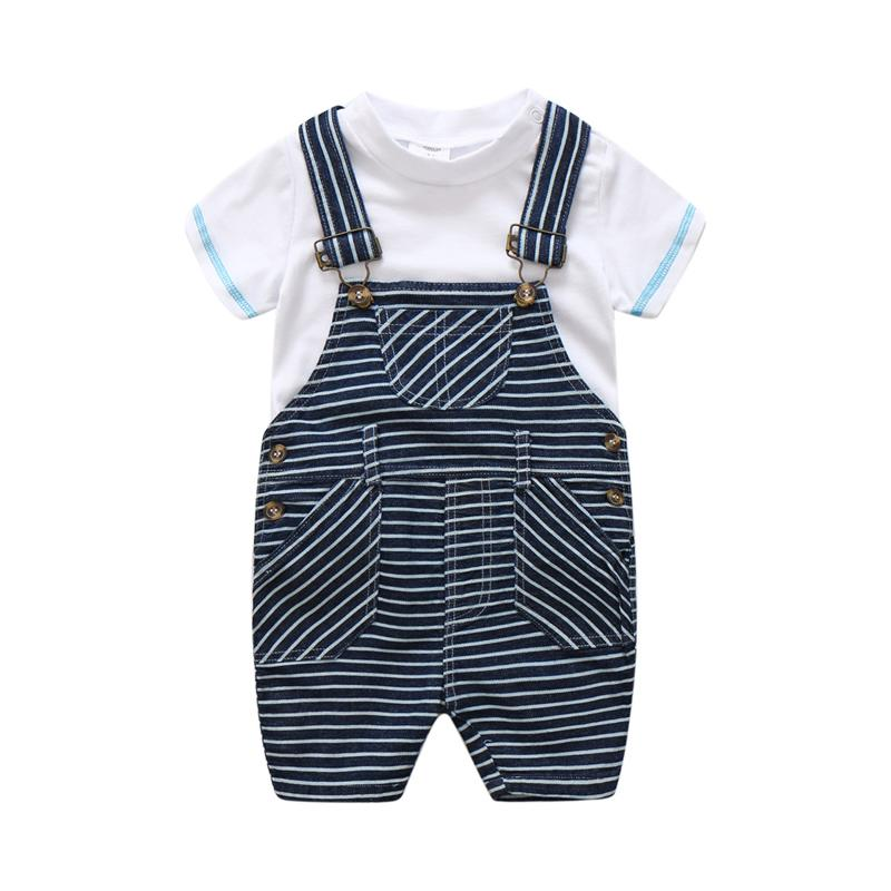 058a969e6 Newborn Baby Girl Boy Striped Bib Suit Clothes Summer High Quality Boys  Sets White T-shirt + Overalls 2PCS Children Outfits