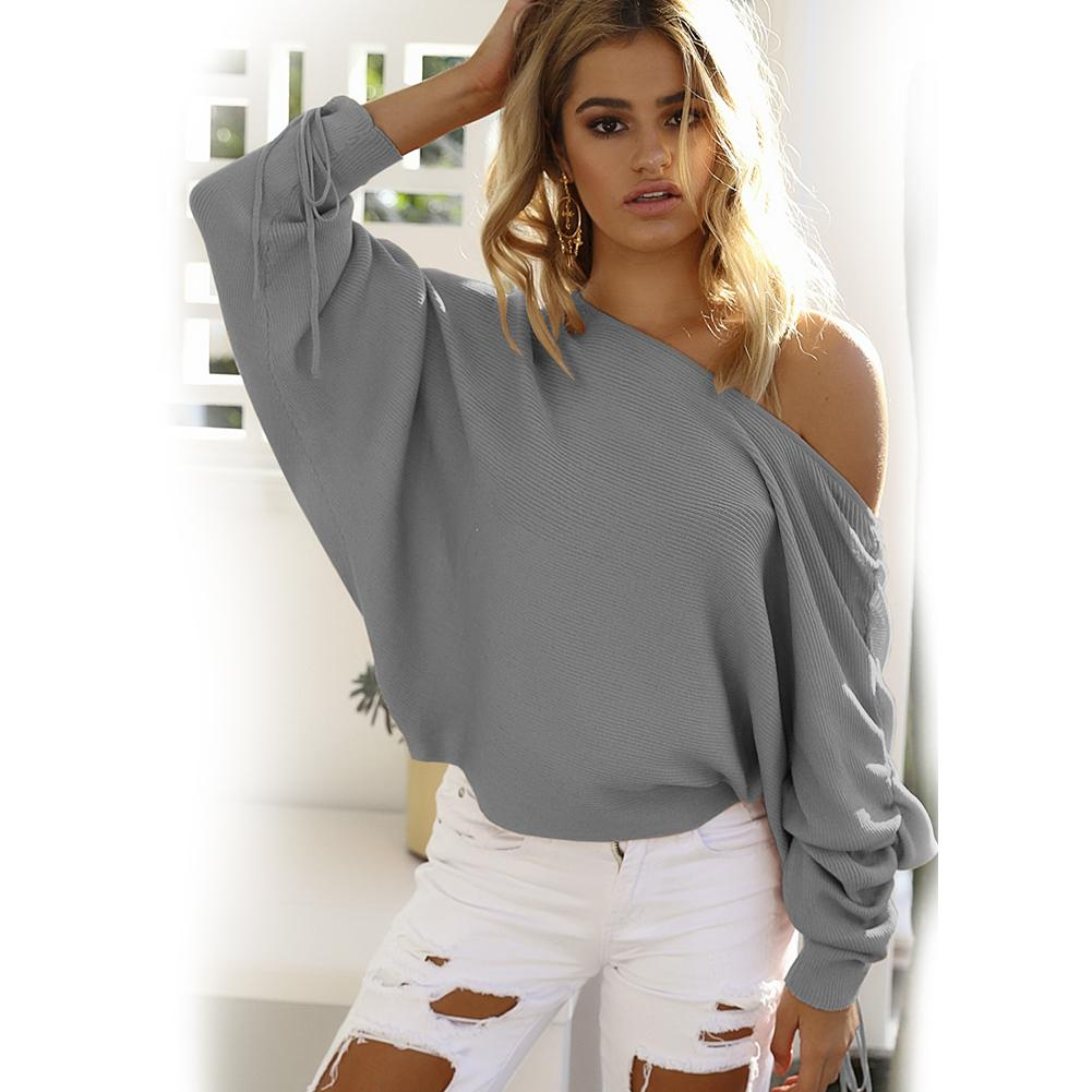 Autumn Winter Women New Stylish Off Shoulder Long Sleeve Sweater Top Casual Girls Pure Color Loose Pullover Sweater