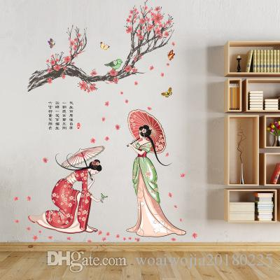 20190621 Classical Beauty and Lady Pictures Chinese Wind Wall Painting Bedroom Living Room Studio Decoration Self-adhesive Paper
