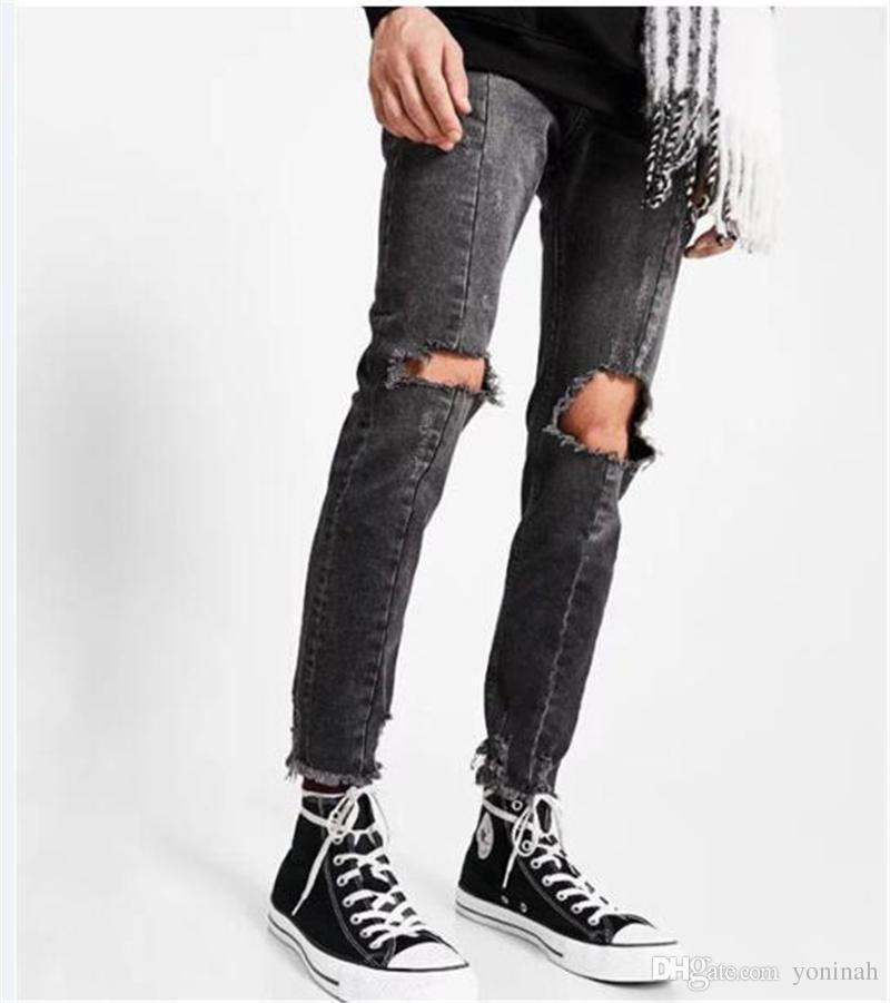 Wholesale New Men Hole Ripped Skinny Jeans Destroyed Jogger Slim Fit Casual Black Washed Denim Pencil Pant made in China