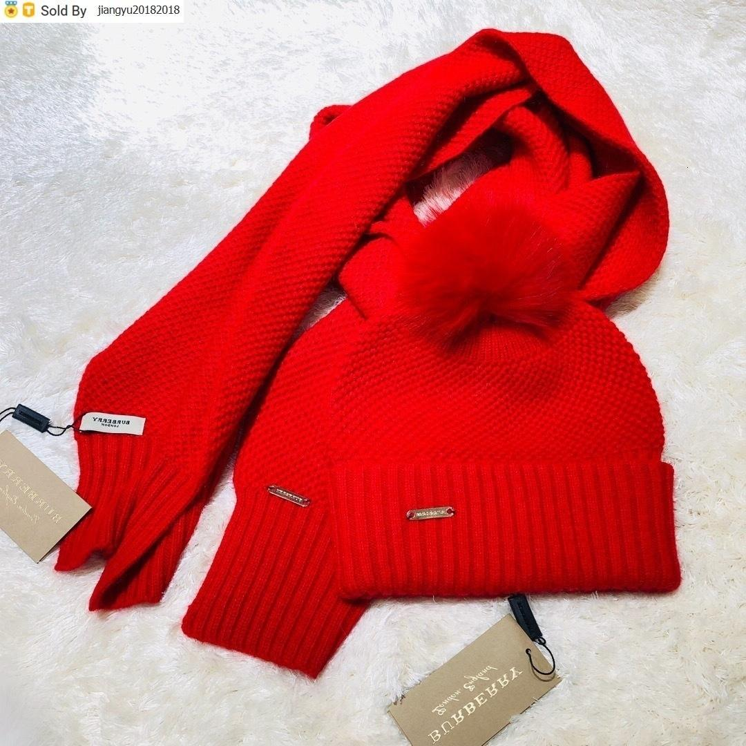 Christmas Gift Quality Woolen Scarf Hat Men Cashmere wool Fox hair ball hat 2pc 40653491 80071931 004 With Box