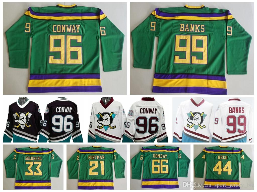 2019 High Quality Mighty Ducks Movie  96 Charlie Conway 99 Adam Banks 66  Gordon Bombay 44 Fulton Reed 33 Greg Goldberg 21 Dean Portman Jersey From  ... 51c8626d1