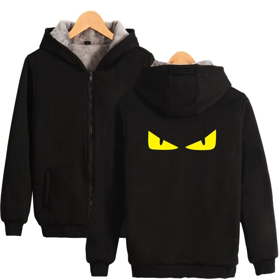 Novelty Monster Devils Eye Hoodies Mens Zipper Cardigan Hooded Sweatshirts Thick Warm Winter Jacket Hoodie