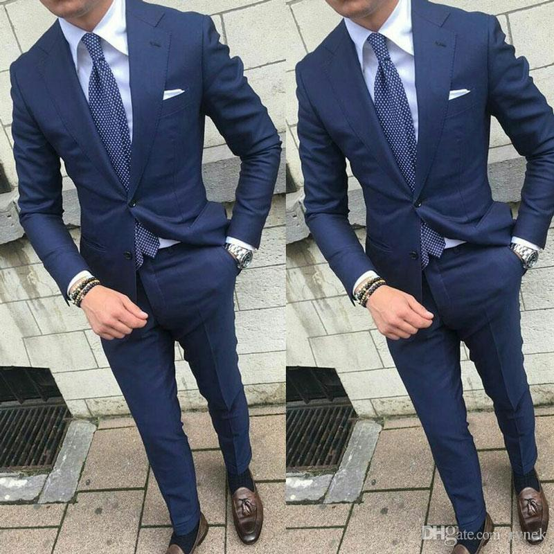 Latest Design Navy Blue Men Suits for Wedding Man Suits Notch Lapel Groom Tuxedos 2Piece (Coat+Pants) Cotume Homme Slim Fit Terno Masculino