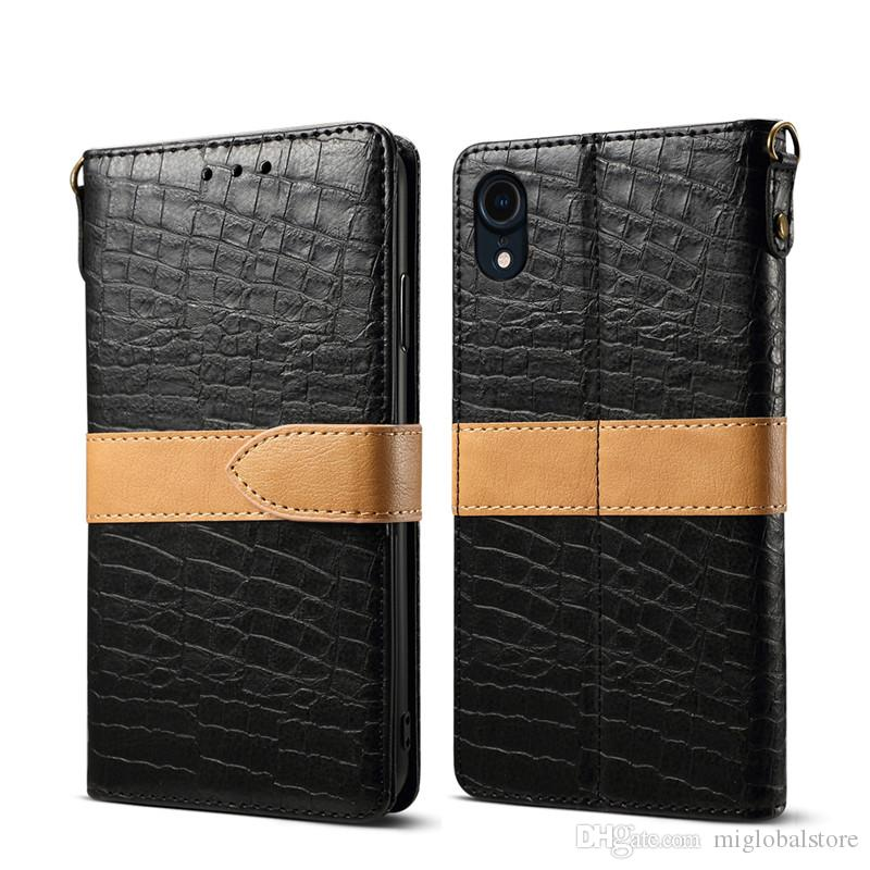 Crocodile Wallet Case For Iphone X Xr Xs Max 7 8 Plus Pu Leather