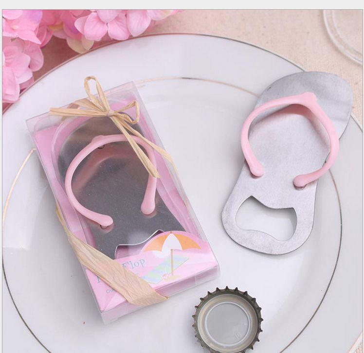 DHL Free shipping 50pcs/lot Beach Wedding Gifts Pink Flip Flops bottle opener Wholesale For wedding favors party favors
