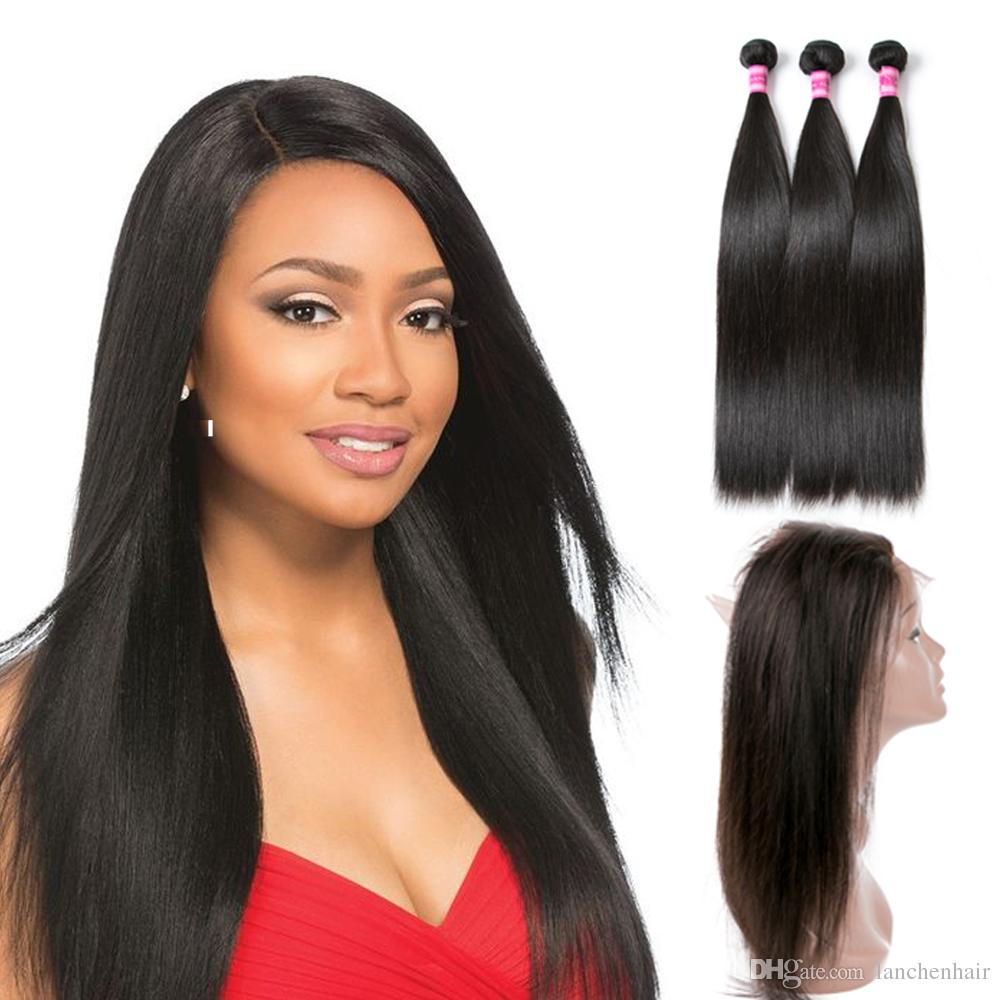 9a Peruvian Hair Straight Human Hair Weave Bundles With 360 Lace Frontal  Natural Color 3 Bundles With 360 Frontal For Black Women Black Hair Weaving  Black ... 6080b5ef3