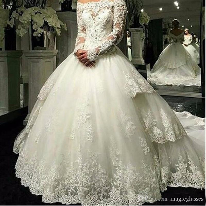 Long Sleeve Lace Wedding Dress Detachable Train 2019 Off Shoulder Bridal Gowns Lace Ball Gown Wedding Dresses
