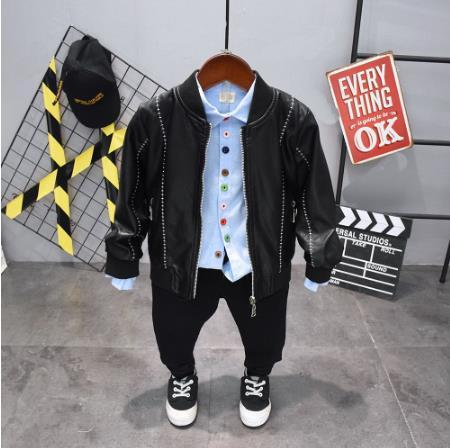 Children's jacket clothing set imitation leather coat + shirt + pants 3 sets / boys fashion rest spring and autumn boys set 2-6