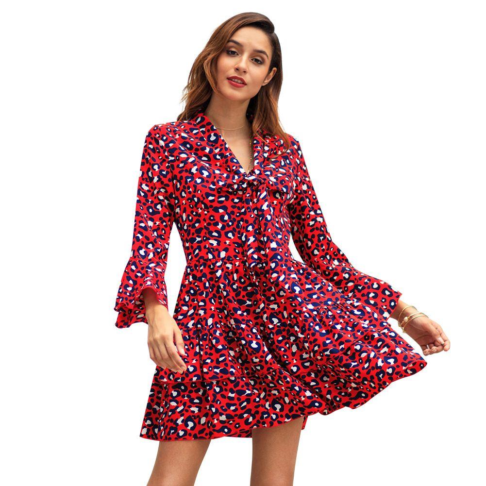 fbd7ec07523ec Satın Al 2019 Yeni Stil Baskı Elbiseler Kadınlar Için Uzun Kollu Diz Boyu  Baskı Tunik Üst Mini Elbise S XL C3058 Kemer Olmadan, $16.09 | DHgate.Com'da