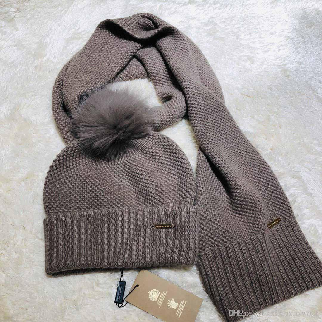 Womens Mens Luxury Brand Hats Scarves Sets Wool Knit With Soft Cony