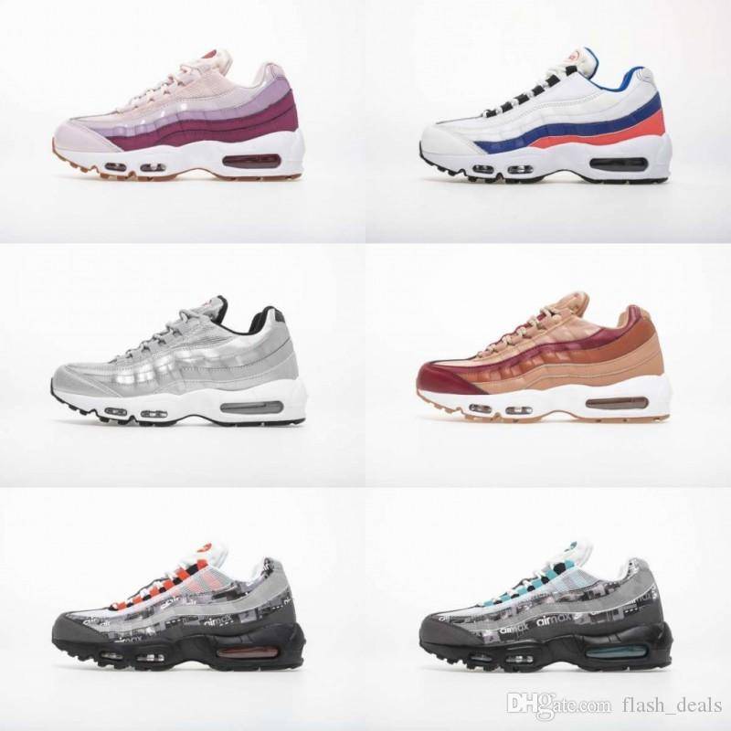 4fa5fe70af47d 2019 Air Cushion 95 Running Shoes Clearance Womens Essential Ultramarine  95s Barley Rose Hot Punch Female Sneakers Wholesale Shoe Sale Running  Spikes From ...