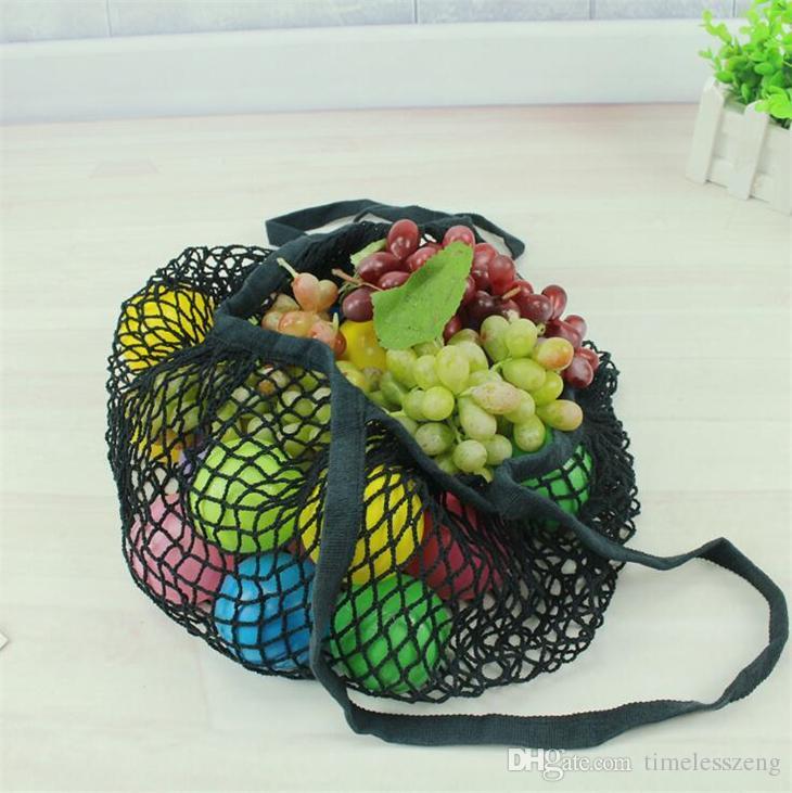 Acquisto riutilizzabile del sacchetto di drogheria i Large Size Shopper Tote della rete della maglia tessuto Borse di Portable Shopping Bags dirigono il sacchetto