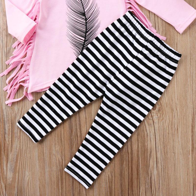 Criança Kid Baby Girl Tassel Roupas Tops vestido listrado Calças Legging Outfit Set / BL2