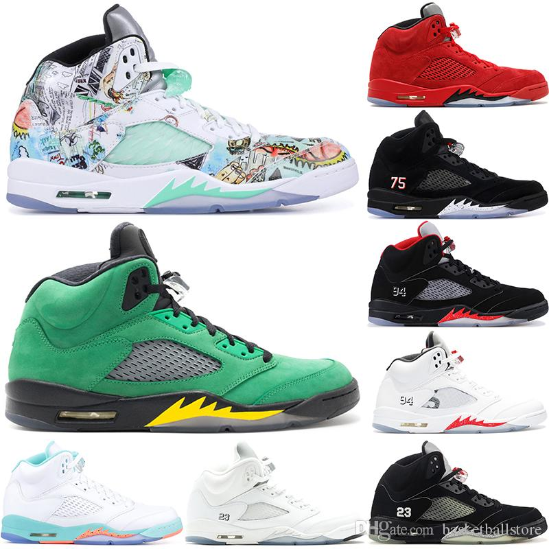 new arrivals c7589 defda Nike Air Jordan 5 Retro Zapatillas De Baloncesto Para Hombre Light Aqua PSG  Negro Uva Blanca Laney Vuelo Internacional Oreo Saint Germain Sports  Sneakers ...