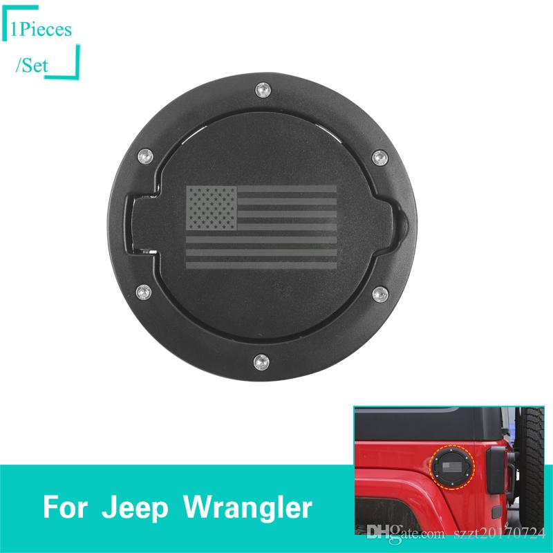 Fuel Tank Cover USA Flag Black For Jeep Wrangler From 2007 To 2017 Auto Exterior Accessories ABS Metal