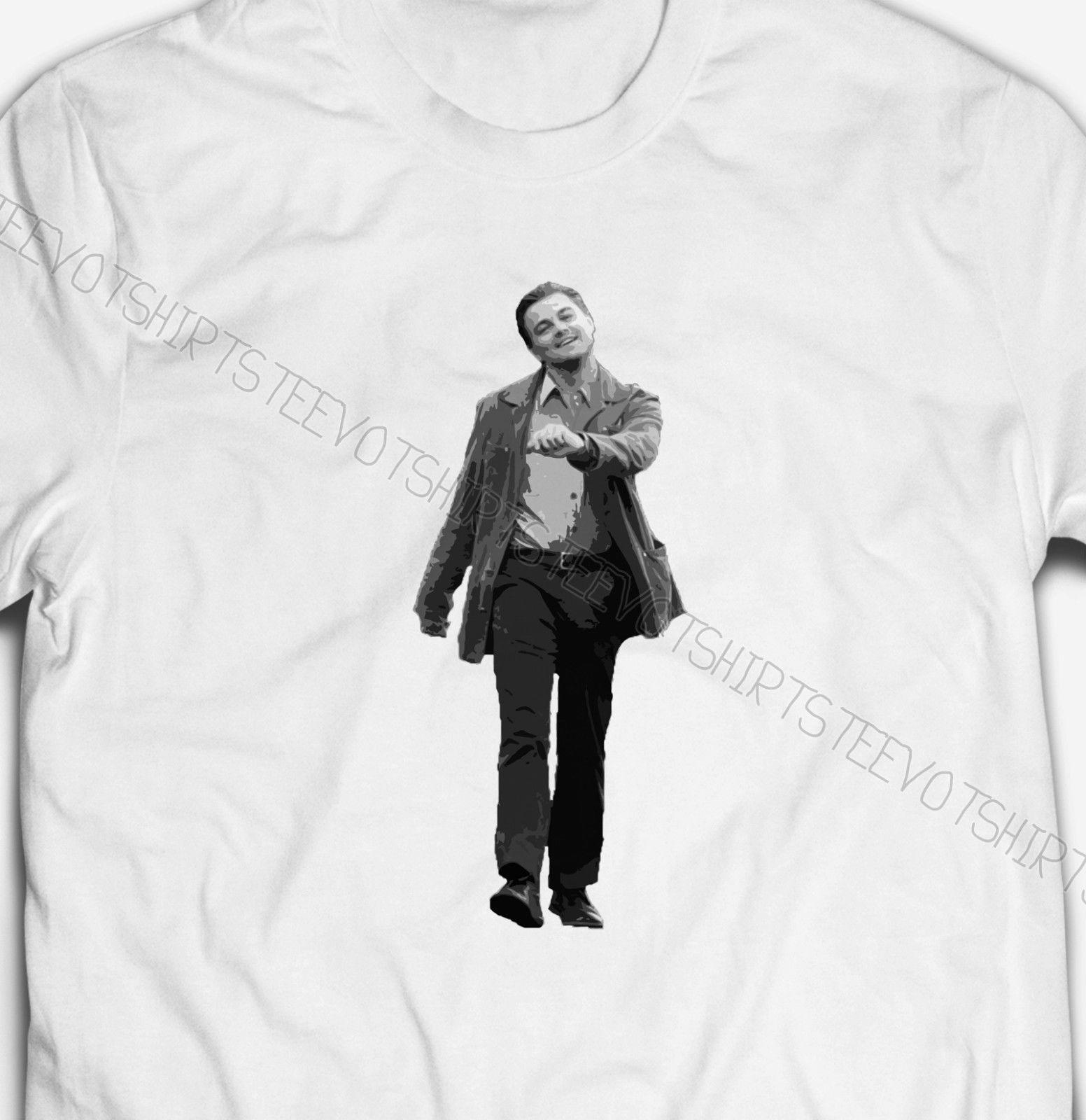 LEONARDO DICAPRIO STRUTTING VIRAL MEME FUNNY Mens 100% COTTON T-shirt TEE Shirt white black grey red trousers tshirt