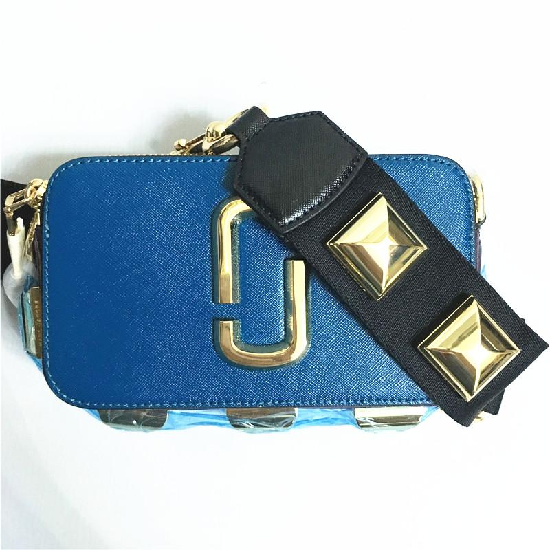 2019 new women's camera bag wide shoulder strap color rivet diagonal bag handbag small square mini shoulder