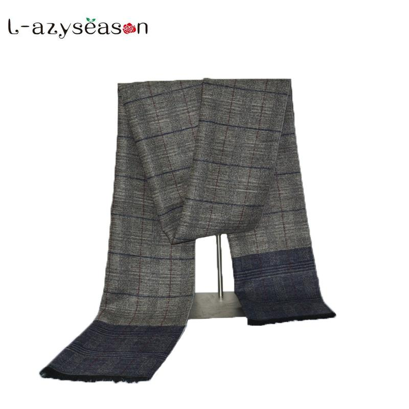 de752947f65bb Fashion Winter Design Man s Cashmere Scarf Men Plaid Designer Narrow ...