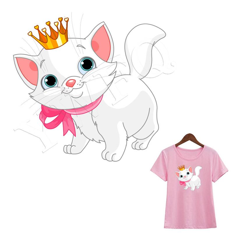 Crown Cat Patches DIY Heat Transfer Parches For Clothing A-level Washable Ironing Stickers T-shirt Dresses Accessory Badges