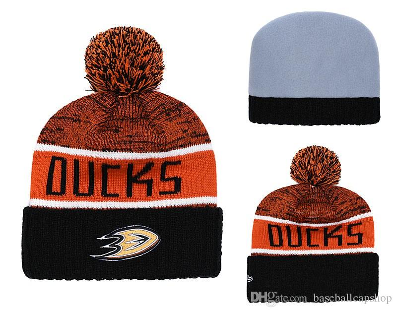 c779bad6a7b NEW Men s Anaheim Mighty Ducks Knitted Cuffed Pom Beanie Hats ...