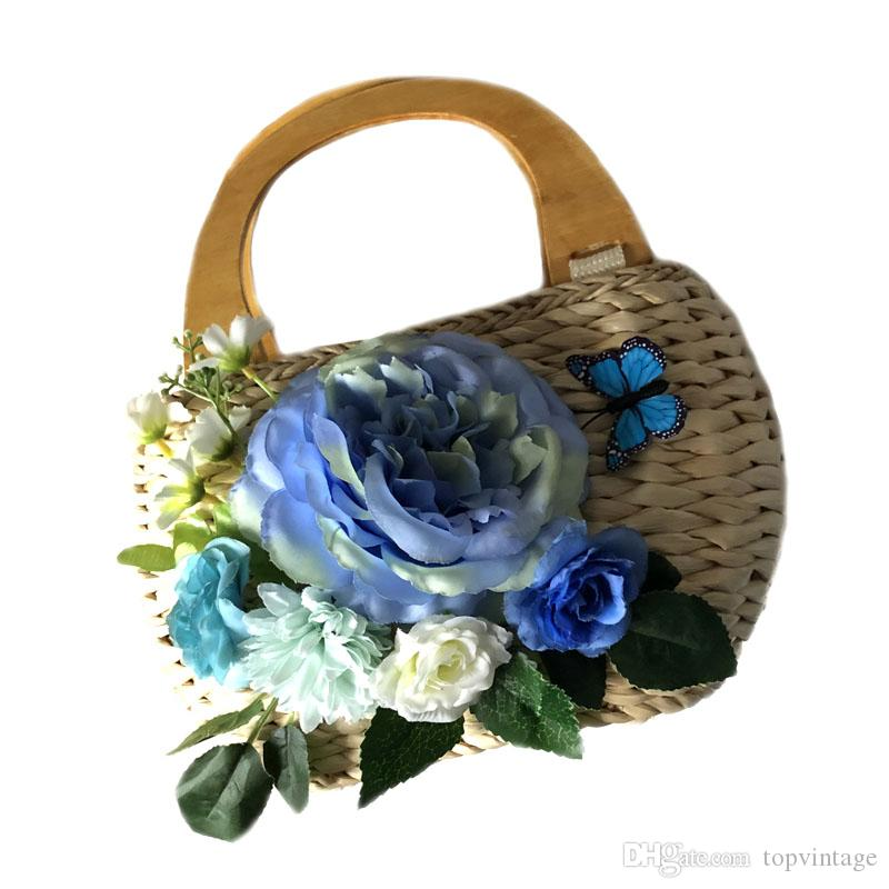 Summer Beach Straw Bag Bohemia Boho Flowers fashion hangbag for lady Woven handmade retro tote bags for kid casual basket