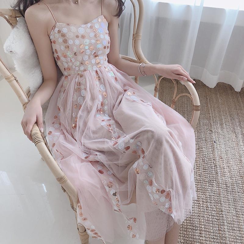 8cb7f44344e37 2019 New Women Lolita Pink Dot Sequined Slip Dress Summer Sleeveless V-Neck  Mesh Sundress Sweet Slim Long Dresses Vestido Femme