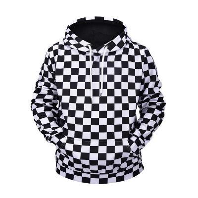 venta minorista 3e52f 10cd7 Sudaderas con capucha impresas en 3D a cuadros en blanco y negro de manga  larga para hombre Hip Hop sudaderas casuales con tapa más el tamaño de alta  ...
