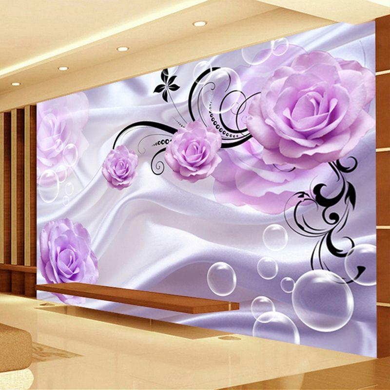1e7e39d00 Compre Personalizado Foto Papel De Parede 3d Floral Roxo Rosa De Seda Fundo  Moderno Simples Romântico Sala De Estar Quarto Papel De Parede Mural De  Design ...